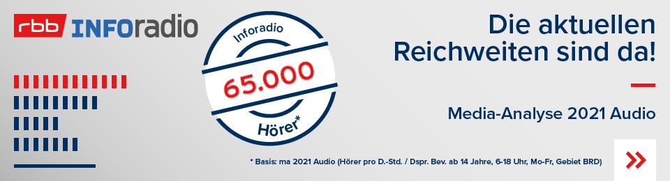 Die neue Reichweite MA2021 Audio Inforadio vom rbb