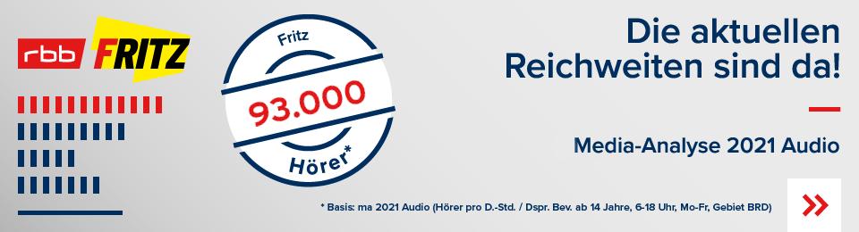Die neue Reichweite MA2021 Audio Fritz vom rbb