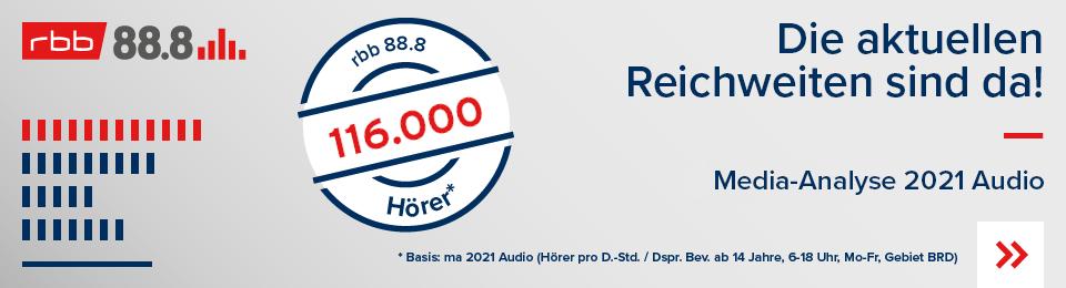 Die neue Reichweite MA2021 Audio Radiosender rbb 88.8