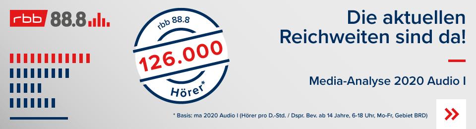 Die Reichweite MA2020 AudioI Radiosender rbb888